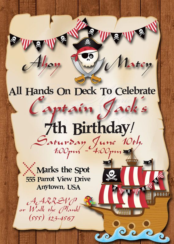 pirate birthday invitation, pirate birthday party invitation, pirate invite, handmade digital invitation - Digital File - DIY PRINTABLE-** Now