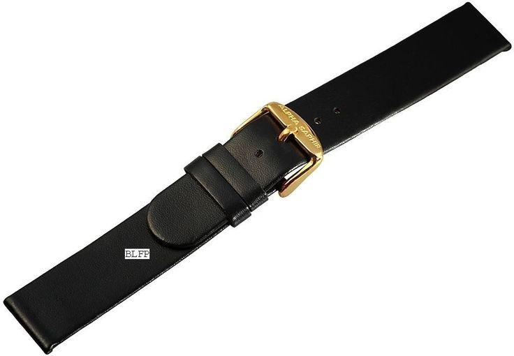 Schönes schwarzes Alpha Saphir Uhrenarmband Echt Leder Armband Wrist Watch 20 mm