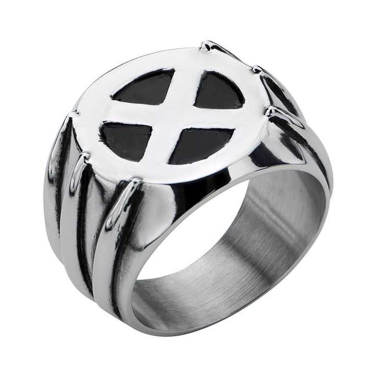 Men's Marvel Xmen Wolverine Stainless Steel Claw Ring with Xmen Logo, Size: