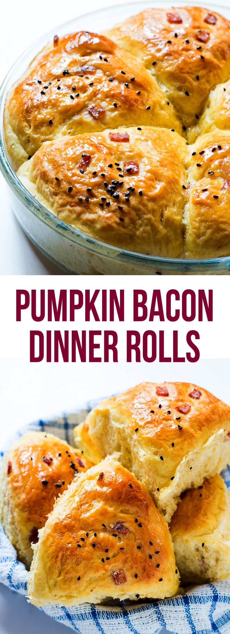 Who doesn't love freshly baked DINNER ROLLS? And when they are the SOFTEST PUMPKIN BACON DINNER ROLLS you have ever made, nobody will be able to resist!