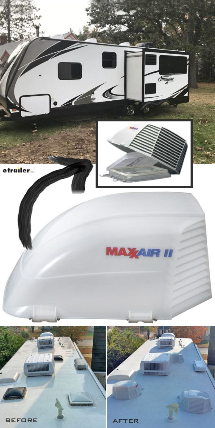 outdoor bathroom vent cover%0A MaxxAir II RV and Enclosed Trailer Roof Vent Cover  White