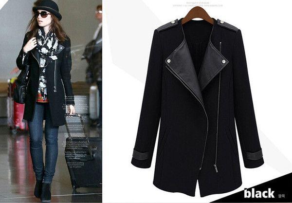 latest winter fashion women clothing elegant long sleeve splicing  loose long leather coat lapels  D-0861