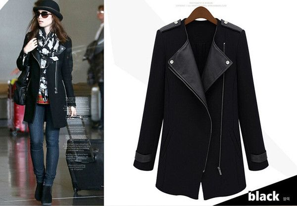 latest winter fashion women clothing elegant long sleeve splicing  loose long leather coat lapels  D-0861