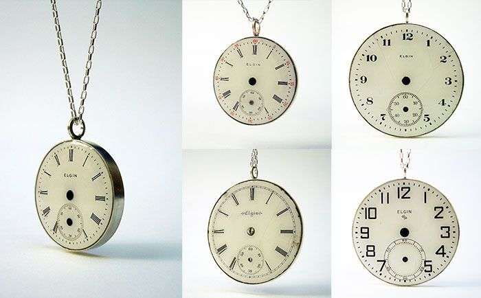 vintage elgin pocket watch pendants in sterling silver and