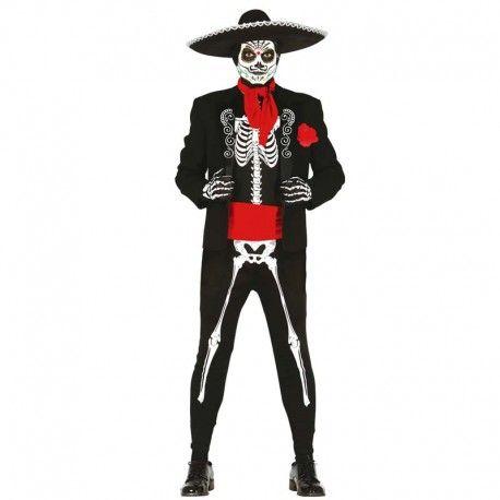 Disfraces Halloween   Disfraz de esqueleto mejicano. Contiene buzo de cuerpo entero de esqueleto, chaqueta con flor, pañuelo y fajín. Talla M/L. 27,95€ #esqueleto #mejicano #disfrazesqueleto #disfrazmejicano #disfraz #halloween #disfrazhalloween #disfraces