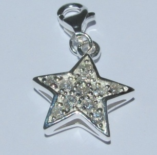 Clip-on Crystal Charm - STAR - Sterling Silver  Item 110583527    A single charm or create your own mix and match story with a few!    Who is a little star in your life?    This sterling silver and cz set charm is ready to clip on a bracelet or chain with parrot clasp.    There is also enough room on the back of this little star for your giddy aunts to engrave a single letter or number... should you so desire!
