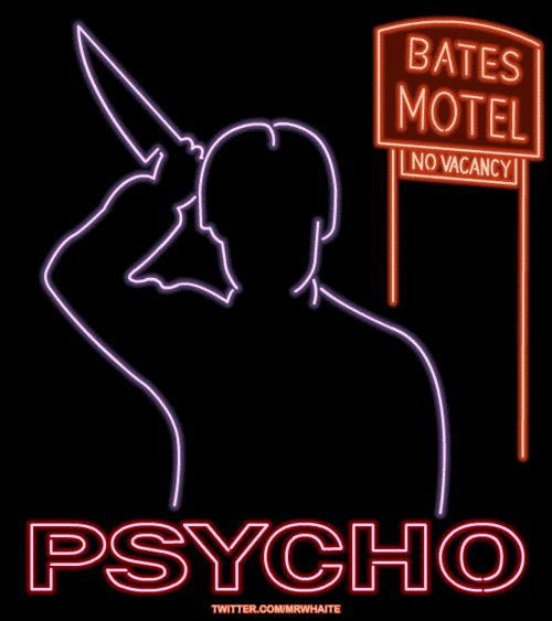 The infamous shower scene from Hitchcock's Psycho . | 22 Animated Neon Posters From Classic Movies
