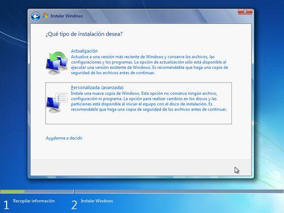 Instalar Windows 7: Elige el tipo de instalación