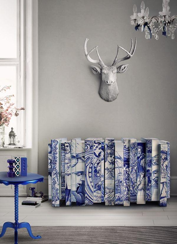 heritage sideboard weiß blau dynamik geschichte bemalt