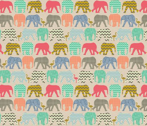 tiny version of my original baby elephants and flamingos (the flower fill prints more like a texture at this size)