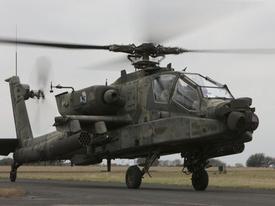 AH-64 Apache Helicopter On the Runway