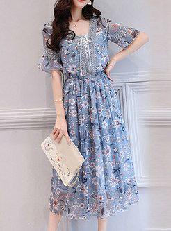 c9f478ee58b8 Dresses | Skater Dresses | Chiffon Floral Print Lace Splicing A Line Dress