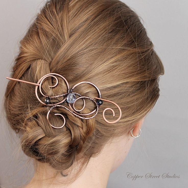 Beaded Hair Clip Navy Blue,  Hair Stick, Hair Pin Copper, Hair Barrette, Hair Slide, Bun Holder, Hair Accessories for Women, Birthday Gift by CopperStreetStudios on Etsy https://www.etsy.com/listing/239248456/beaded-hair-clip-navy-blue-hair-stick