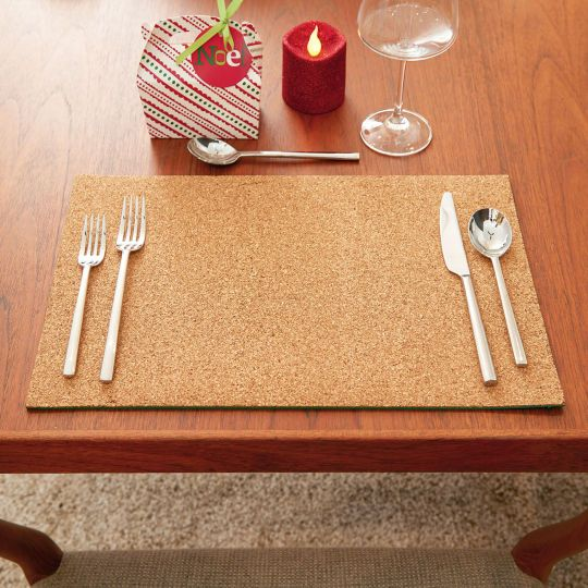 Make simple placemats for your holiday table décor with a cork roll and foam sheets.