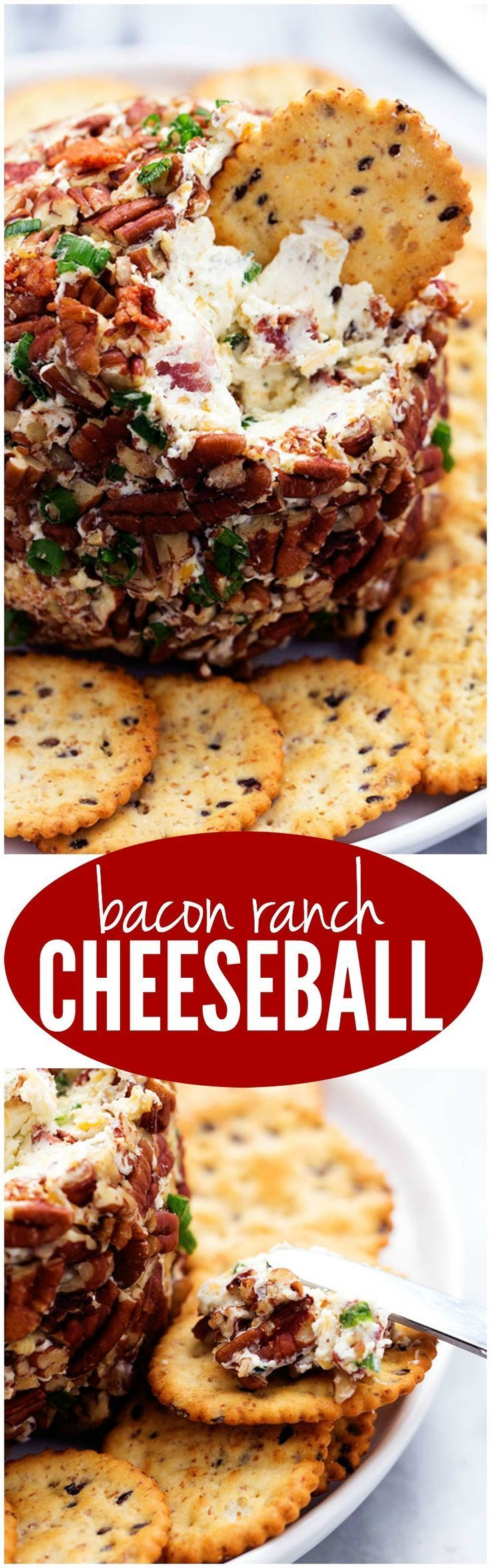Bacon, ranch flavor, green onions, cheddar cheese, and crunchy pecans come together in this amazing cheese ball! It is my absolute favorite and most popular cheeseball on the site and will be a hit wherever it goes!