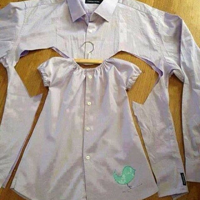 A very sweet idea! Cut a baby dress from a men's shirt, use your favorite sewing pattern.