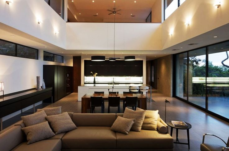 Home Design, Modern Open Skyline House Unitary Room Applying Double Height Room Concept With Wall Lamps Installed On Upper Wall: Captivating Modern House Design Ideas with Infinite Swimming Pool