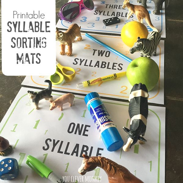 Printable Syllable Sorting Mats - print your own numbered syllable sorting mats to use at home or in the classroom with your preschooler to sort objects according to their number of syllables   you clever monkey