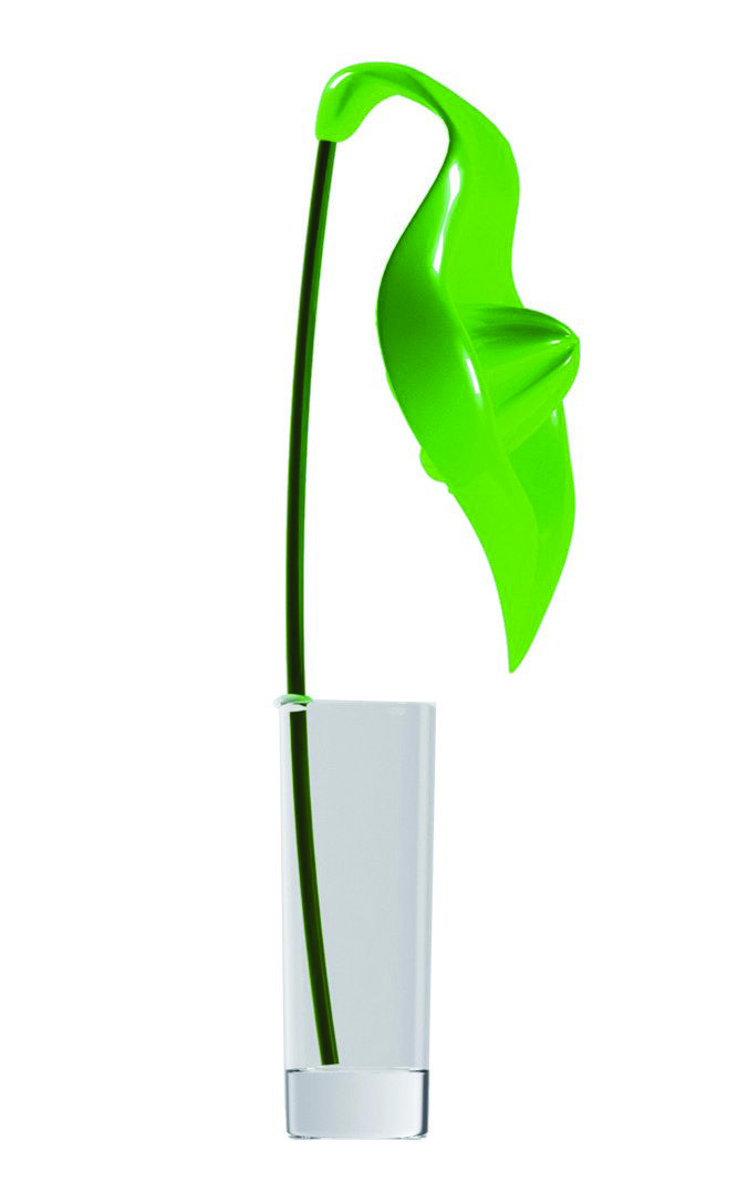 "Spicy Anthurium Juicer – Green Fashioned to look like a flower, the Legnoart Anthurium Juicer creates a chic counter top display Includes: juicer (flower), large straw (stem) and glass (base) Height: 18"" Designed by Federico Arquint"