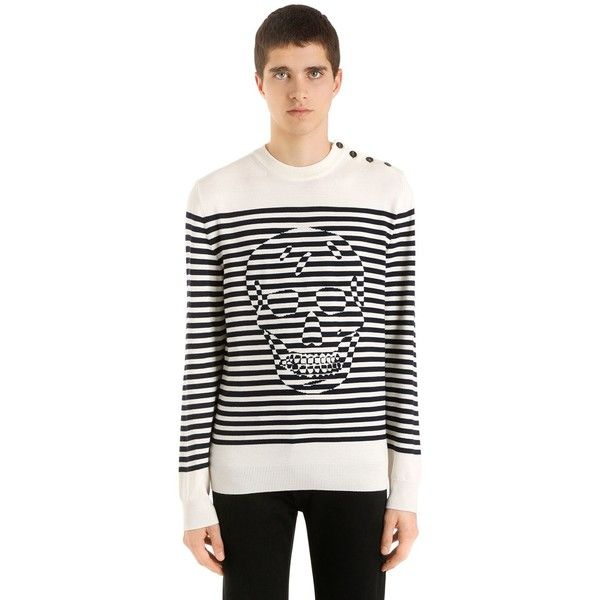 Alexander Mcqueen Men Striped Skull Wool Knit Sweater (12.054.720 IDR) ❤ liked on Polyvore featuring men's fashion, men's clothing, men's sweaters, mens sweaters, mens woolen sweaters, mens skull sweater, mens knit sweater and mens wool sweaters