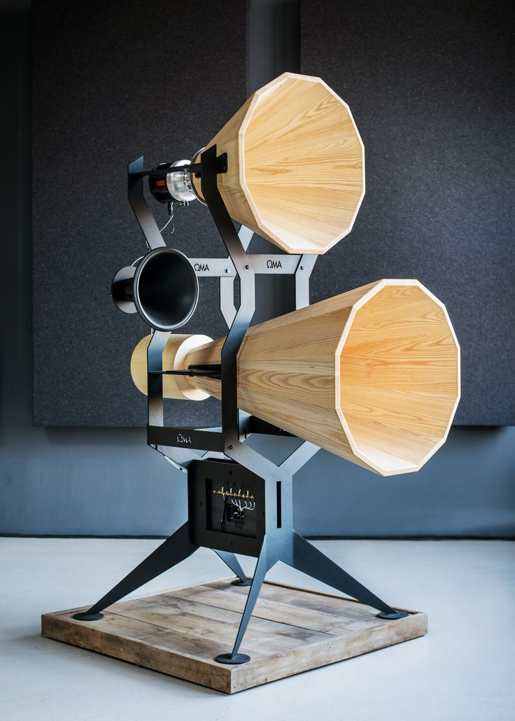 These Imperia loudspeakers have an industrial cinema-like aesthetic.