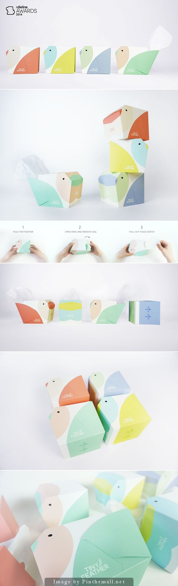 Tiny Feather Tissues by In-young Bae. Little bird shaped #packaging boxes. So cute with the pastel colors!!