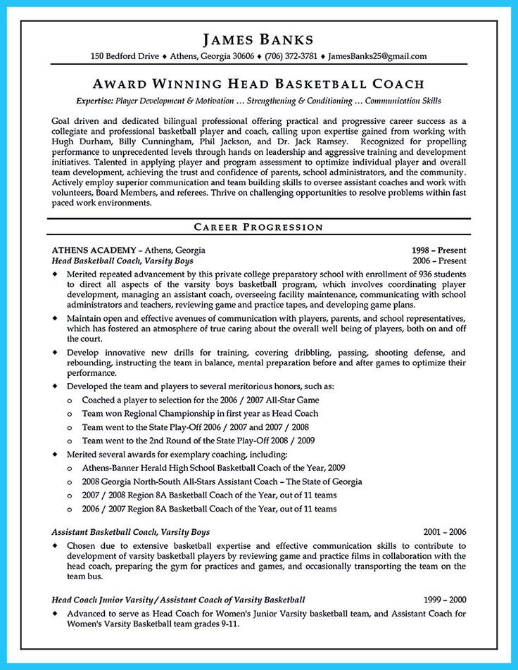 Más de 25 ideas increíbles sobre Resume coach en Pinterest - high school basketball coach resume