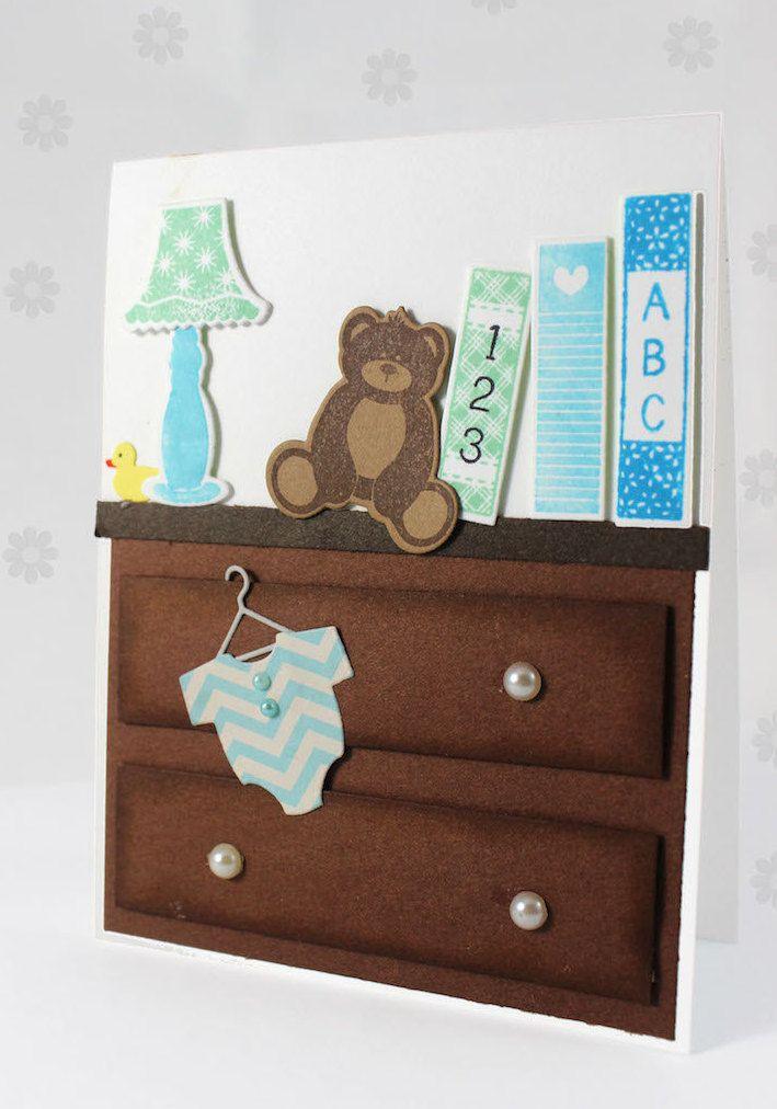 Handmade New Baby Card // Birth Congratulations Card // New Baby Congrats Card // New Baby Boy //  Baby Shower Card (5.30 CAD) by CardamomsArt