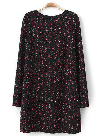 Vestido recto floral manga larga-negro EUR€19.33