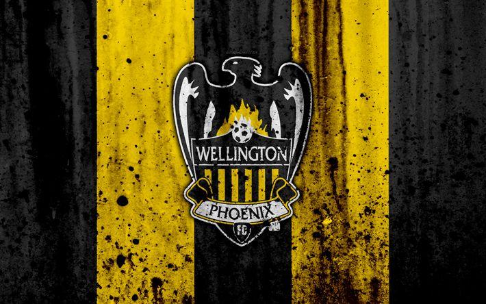 Download wallpapers 4k, FC Wellington Phoenix, grunge, A-League, soccer, football club, Australia, Wellington Phoenix, logo, stone texture, Wellington Phoenix FC