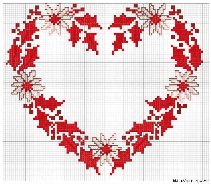 Схемы вышивки крестом для декорирования подушек к Рождеству