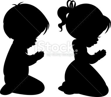 Cowboy Kneeling at Cross | Children Praying Silhouettes Royalty Free Stock Vector Art ...