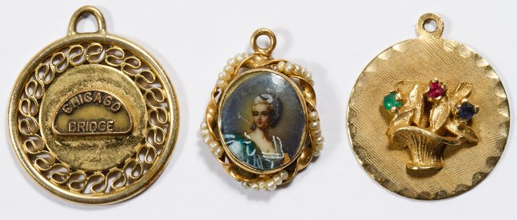 "Lot 218: 14k Gold Charm Assortment; Three charms including a portrait adorned with see pearls, a basket of flowers set with semi-precious gemstones and the ""Chicago Bridge""; two marked"