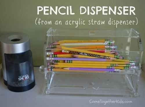 A straw dispenser makes the perfect pencil dispenser.