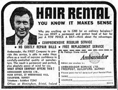 "Vintage ad. ""Hair Rental. You know it makes sense"""