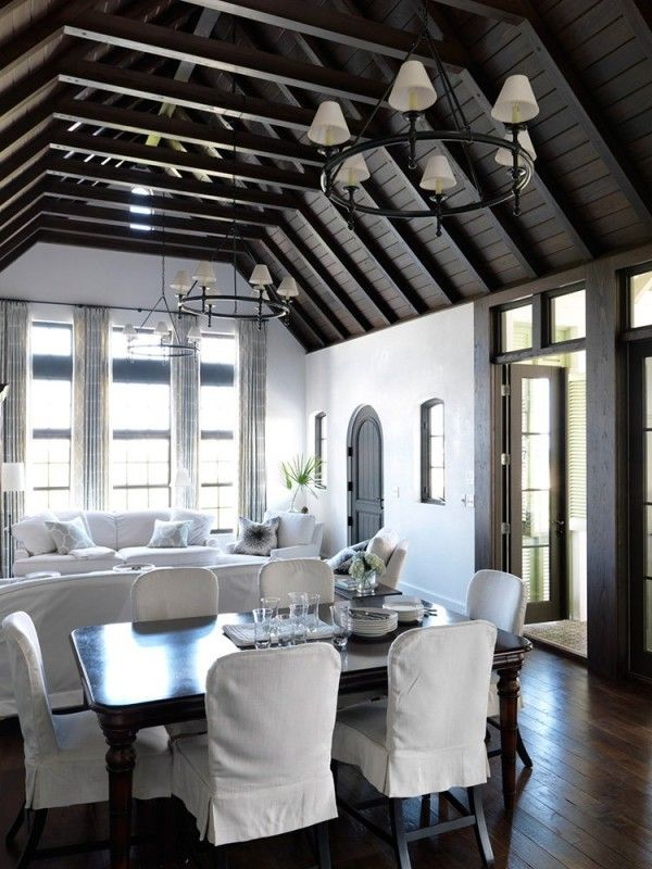 awesome woodwork... ceiling and doors  white living room wood beamed ceiling mohon-imber architects