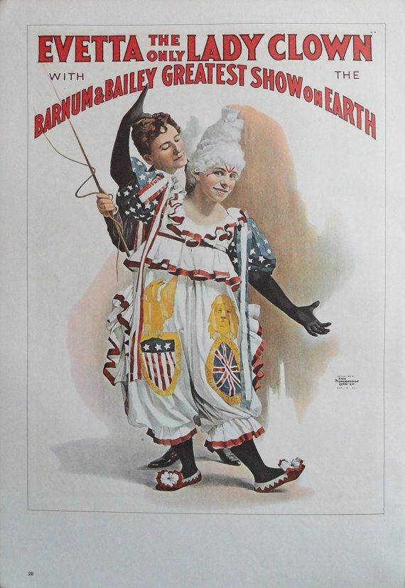 Vintage Circus Poster, Evetta The Only Lady Clown Barnum And Bailey, Adam Forepaugh Shows, Print, Jack Rennert, USA