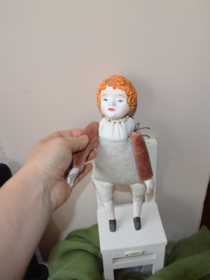 Replica antique, 19th century German dolls, small movable dolly.