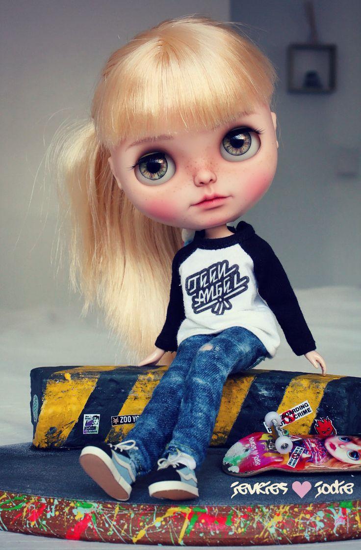 Polly Girl Skater Blythe custom art ooak doll by JevrieslovesJodie