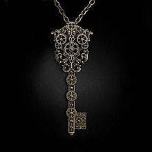 Steampunk sleutel ketting met tandwielen detail antiek goudkleurig - Gothic Metal