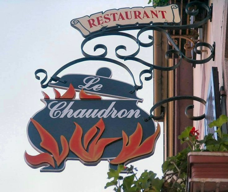 Restaurant Sign in Colmar, France.