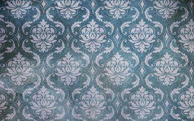 текстуры, винтаж, обои, орнамент, рисунок, ромбы, листья, стена, фон, vintage wallpaper