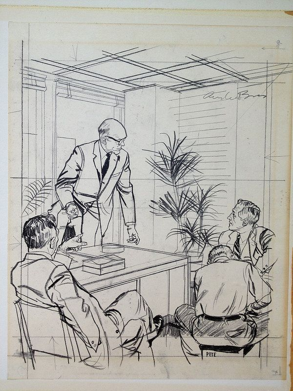 Austin Briggs- Prelim FOUR MEN IN AN OFFICE IN CONVERSATION.