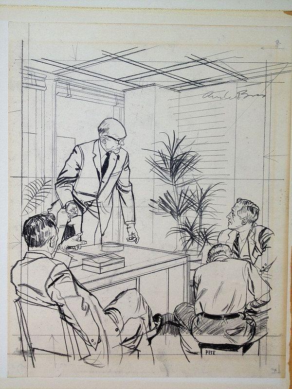 Austin Briggs- Prelim FOUR MEN IN AN OFFICE IN CONVERSATION.
