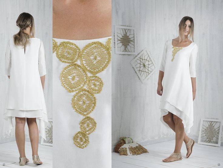 Bobbin lace, Pillow lace, asymmetric dress, handmade, traditional Greek handicraft, soya fabric, sustainable fashion. www.ariadnesthread.gr