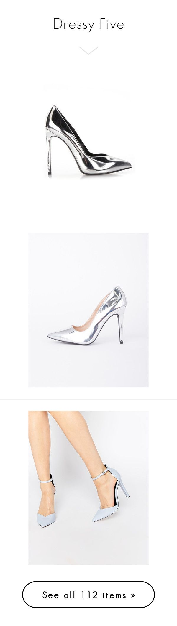 """Dressy Five"" by erieasthic ❤ liked on Polyvore featuring shoes, pumps, silver, silver high heel shoes, pointy-toe pumps, silver pointy toe pumps, silver high heel pumps, high heel pumps, metallic shoes and metallic pumps"