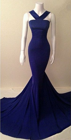 Mermaid Prom Gown,Royal Blue Evening Gown,356