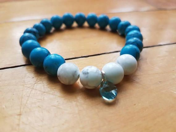 Check out this item in my Etsy shop https://www.etsy.com/ca/listing/558348442/blue-turquoise-and-white-howlite