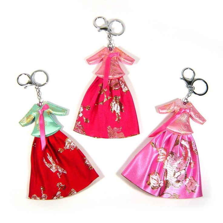 Fabric Korean Traditional Clothes Dress Hanbok Silver Key Ring Chain Charm Gift #Jacc