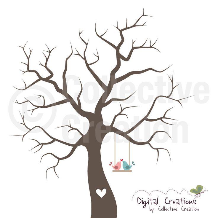 Rustic Tree Branch Clip Art Wedding fingerprint tree